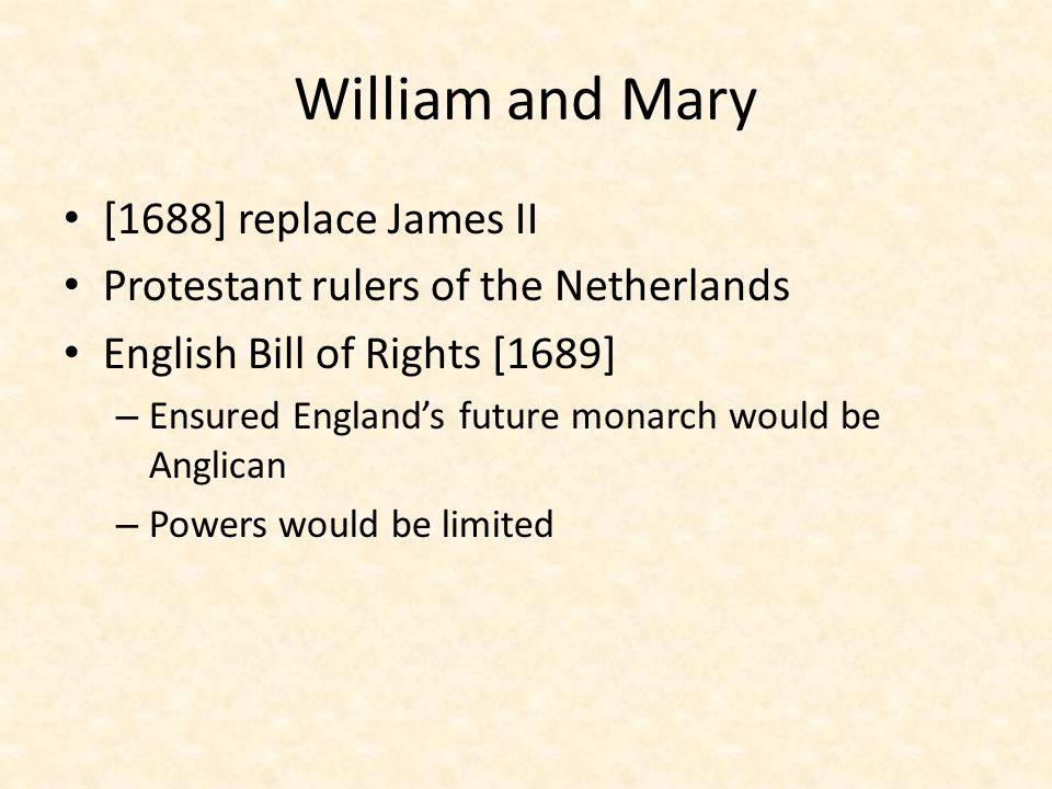 William and Mary [1688] replace James II
